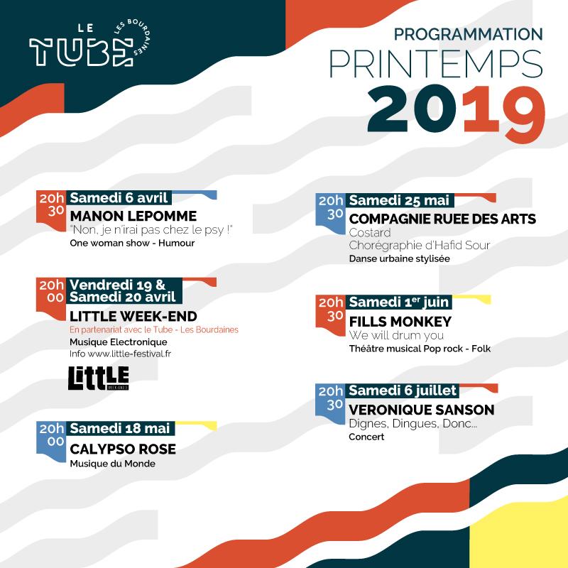 LE TUBE PROGRAMMATION PRINTEMPS 2019